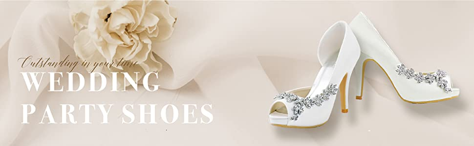 white wedding shoes for bride high heel pumps