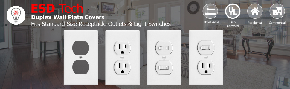DUPLEX receptacle wall plate cover
