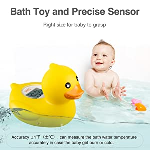 BABY BBZ Digital Baby Thermometer Yellow Floating Water Thermometer for Bathing Tub Duckling for Infants and Toddlers