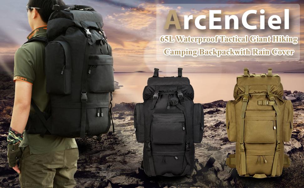 be37a6a6ae21 Amazon.com   ArcEnCiel 65L Waterproof Tactical Giant Hiking .