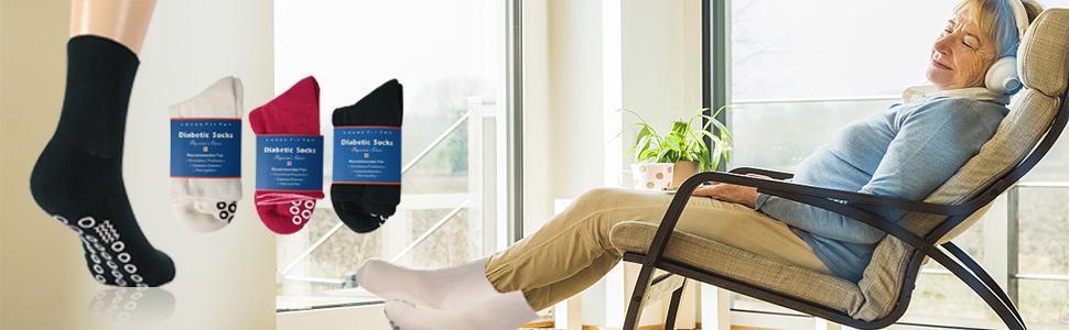 diabetics socks for men womens large anti-slip socks causal socks quality non-slip socks for elder