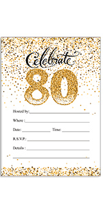 80th Birthday Invitations Party Stickers Candy Wrappers Water Bottle Labels