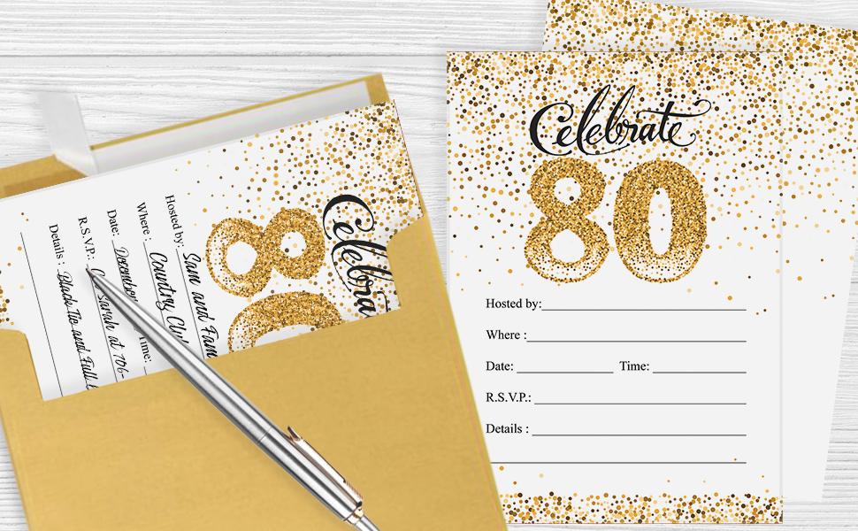 80th Birthday Invitation Cards