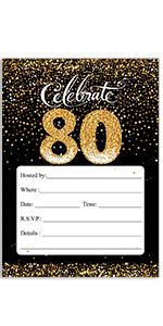 Amazon Com 80th Birthday Party Invitation Cards With Envelopes 25