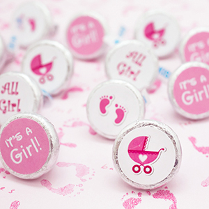 Itu0027s A Girl Pink And White Decorative Baby Shower Stickers