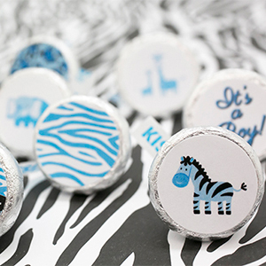 Itu0027s A Boy Blue Safari Patterns And Jungle Animals Decorative Baby Shower  Stickers