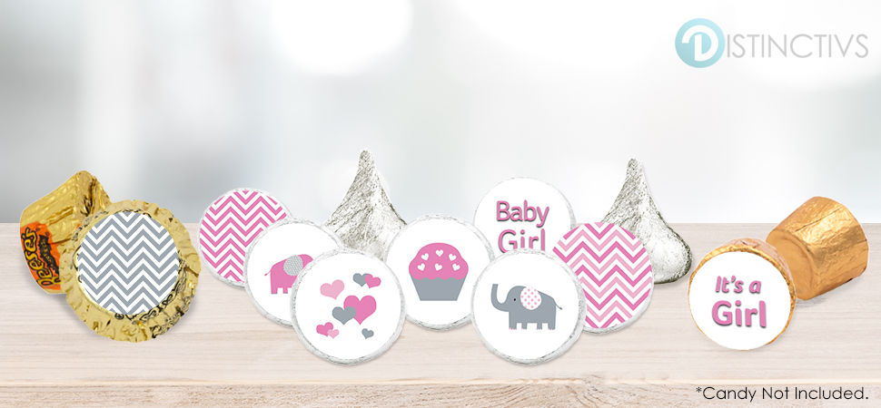 Pink And Gray Elephants Decorative Baby Shower Stickers