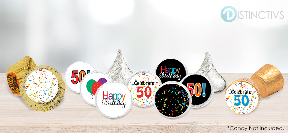 Happy 50th birthday party favor stickers for 50th birthday decoration packages