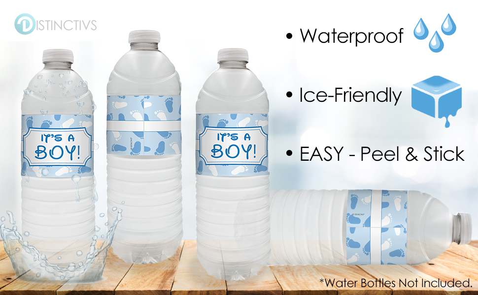 20 count water bottle labels blue its a boy