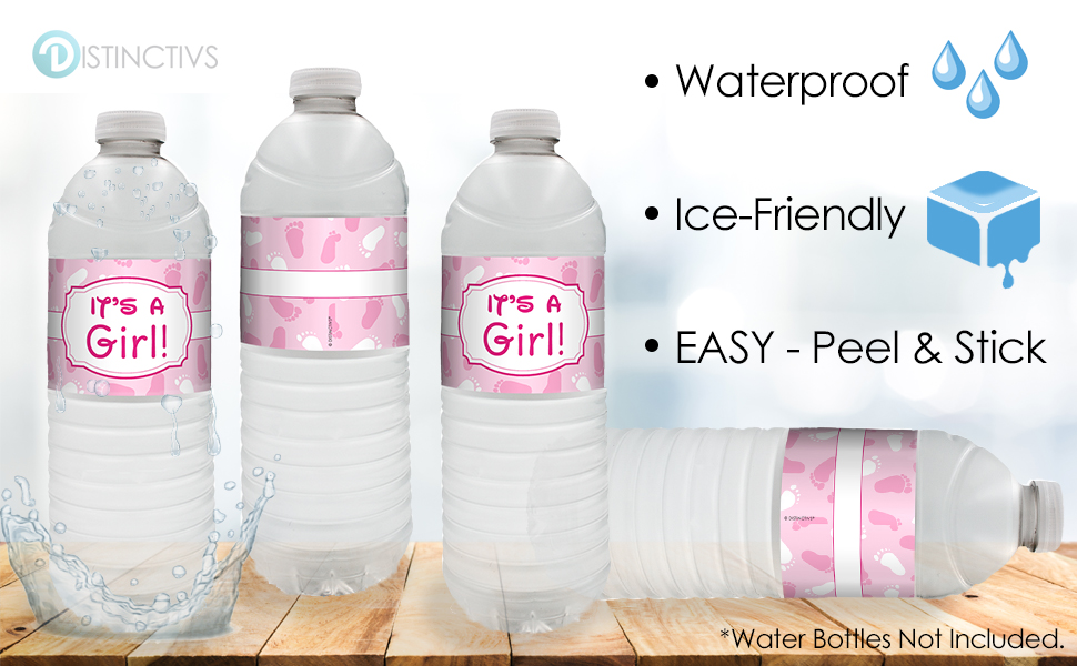 20 Count Water Bottle Labels   Pink Itu0027s A Girl