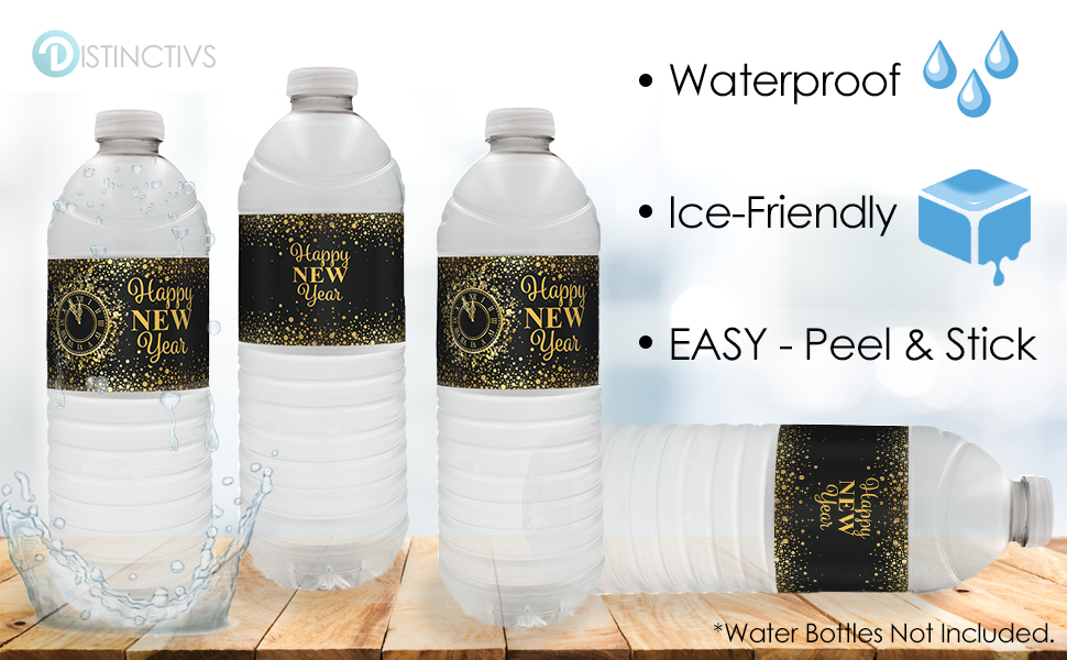 24 count water bottle labels black gold new years eve