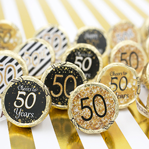 50th birthday black and gold decorative party stickers