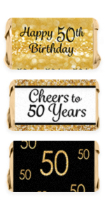 50th Birthday Invitations Party Stickers Candy Wrappers Water Bottle Labels