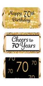 70th Birthday Invitations Party Stickers Candy Wrappers Water Bottle Labels