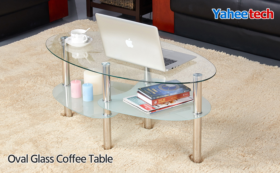 Wondrous Yaheetech Round Oval Glass Top Coffee Table Center Table Sofa Side Cocktail Tables For Living Room Stainless Steel Legs Clear Gmtry Best Dining Table And Chair Ideas Images Gmtryco