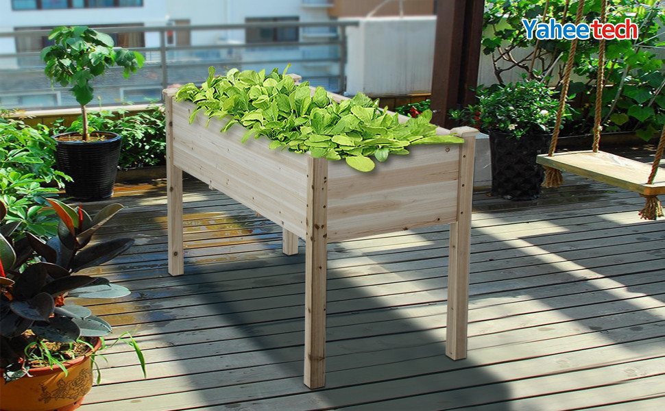 Yaheetech Wooden Raised Elevated Garden Bed Planter Box Kit