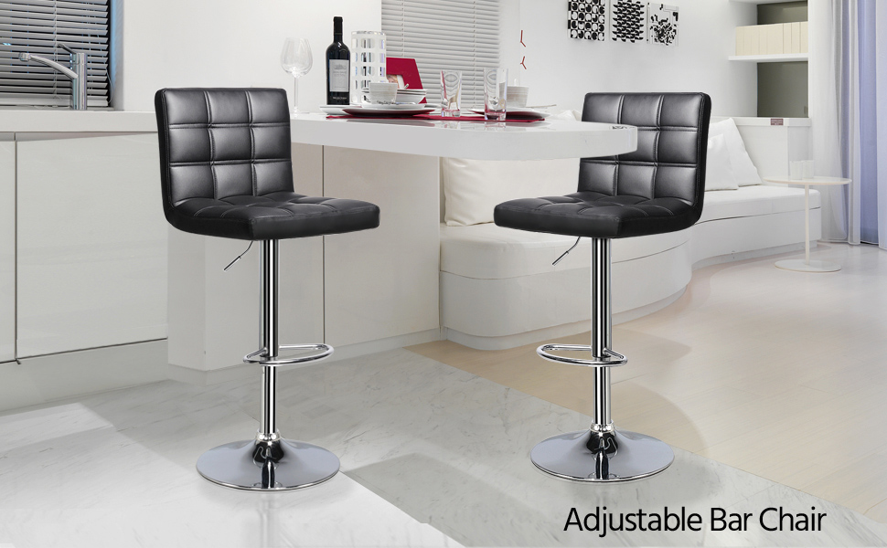 Supply 2pcs Modern Adjustable Backrest Bar Chairs 360 Degree Rotation Seat Stool Restaurants Living Room Office Cafe Furniture Kit Selected Material Furniture