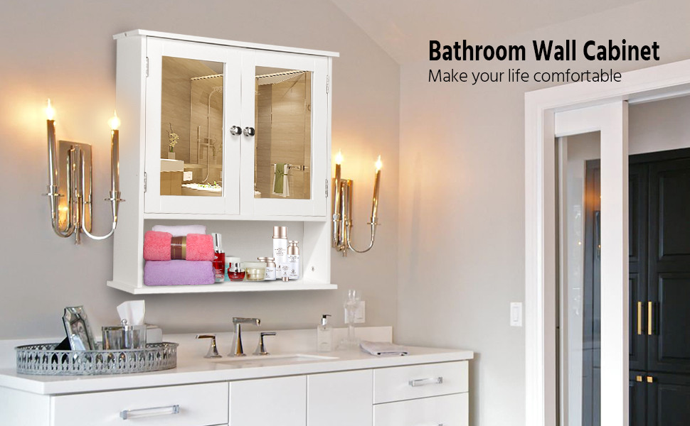 Mirrored Bathroom Cabinet Double Doors Bath Wall Mounted Storage Furniture White: Amazon.com: Yaheetech Medicine Cabinets Wooden Bathroom