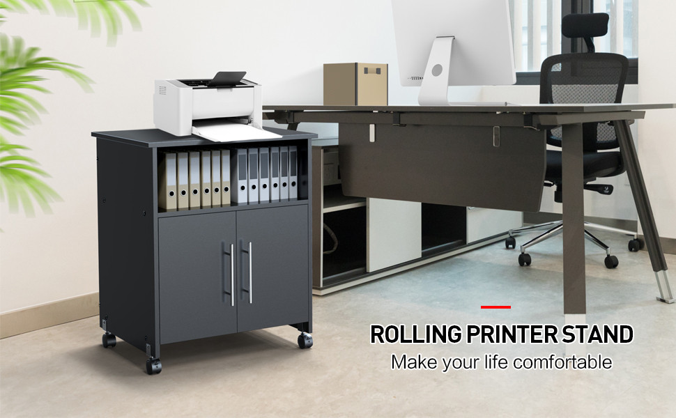 Amazon.com: Yaheetech - Estante para impresora con ruedas ...