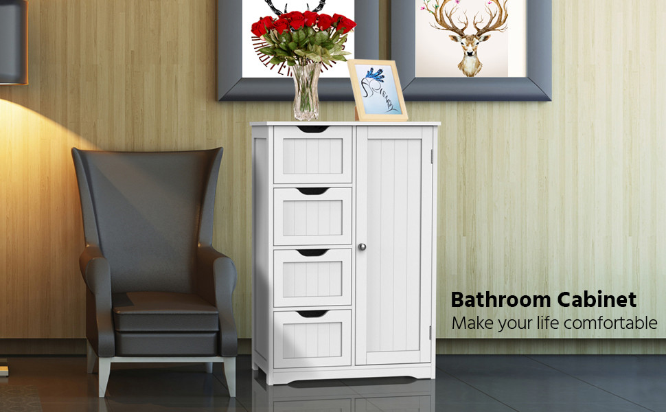 Wooden Bathroom Cabinet Four Drawers U0026 Cupboard Bathroom Storage Unit