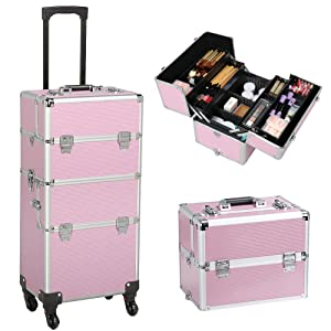 Yaheetech 3 in 1 Rolling Makeup Train Case Trolley, Professional Portable Aluminum Cosmetic...