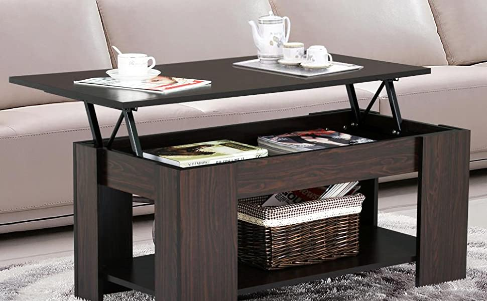 yaheetech grade e1 mdf iron lift up top coffee table w hidden storage compartment. Black Bedroom Furniture Sets. Home Design Ideas