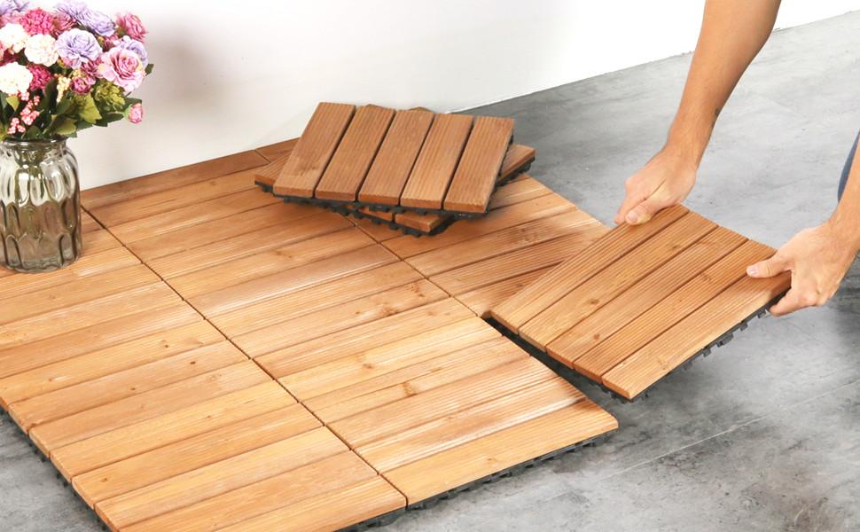 12 X 12u0027u0027 Patio Pavers Interlocking Wood Tiles Flooring Tiles Indoor Outdoor  Garden Deck