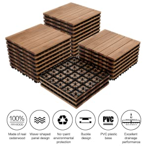 Yaheetech 27PCS Deck Tiles Interlocking Wood Composite