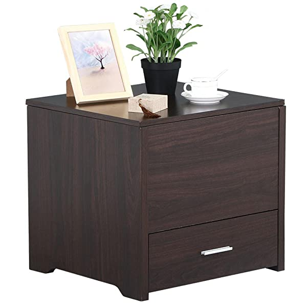 Amazon.com: Yaheetech Wood Bedside Table Cabinet with Storage ...
