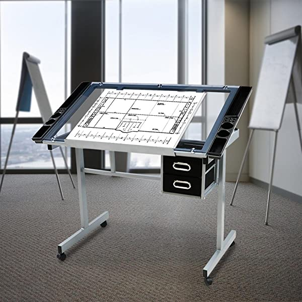 Amazon.com: Yaheetech Adjustable Drafting Drawing Table