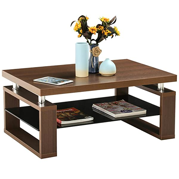 living room tea table yaheetech living room rectangular wood top 13269