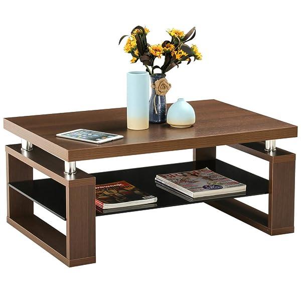 3pc Black Temper Glass Tops Metal Legs Coffee Table W: Amazon.com: Yaheetech Living Room Rectangular Wood Top