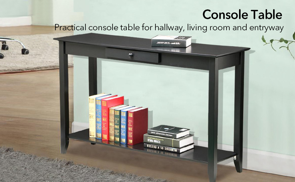 Pleasing Yaheetech 2 Tiers Wood Console Sofa Table With Drawer And Shelf Living Room Entryway Furniture Black Machost Co Dining Chair Design Ideas Machostcouk