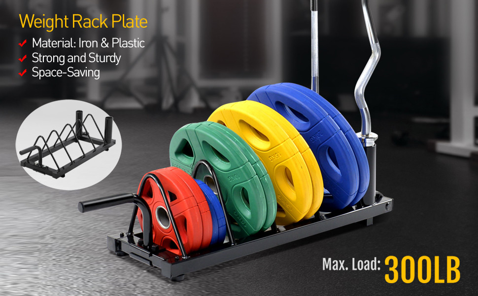 Horizontal Bumper Plate Rack Strength Fitness Rack Plate Holder Standard Plate Black