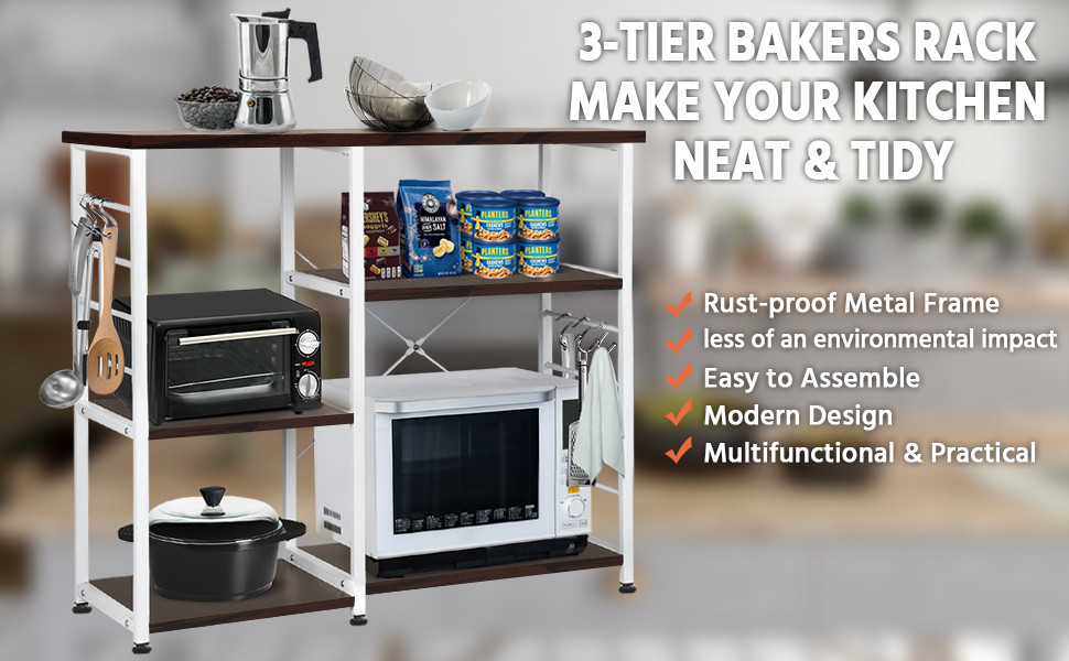3- Tier Kitchen Standing Bakers Rack Utility Microwave Oven Workstation Shelf