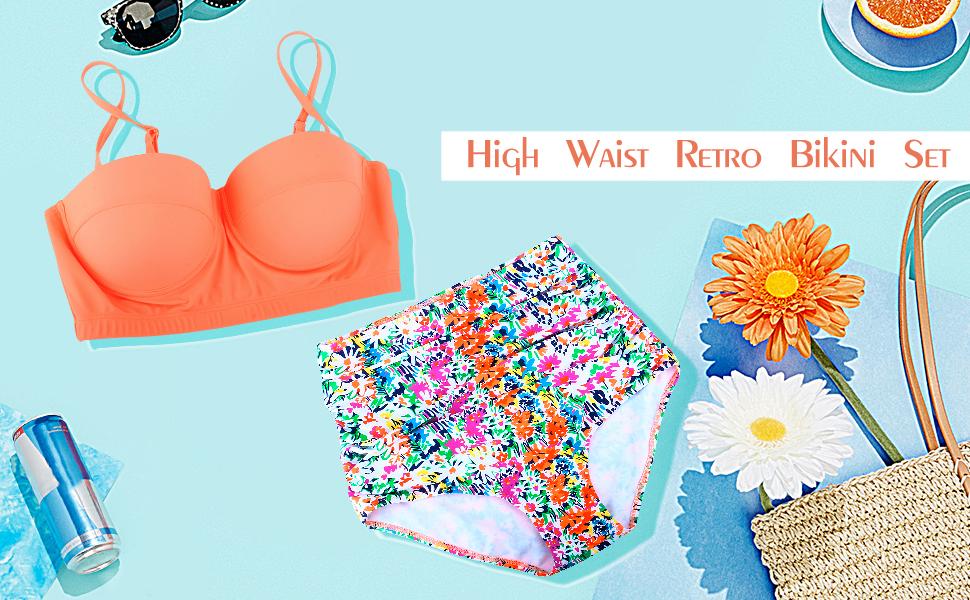 Amazon.com: Swiland Trajes de Baño de Bikini de cintura alta ...