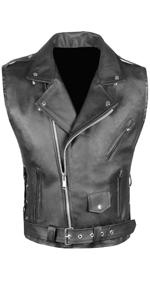 Mens Classic Leather Motorcycle Biker Concealed Carry Vintage Vest Black M