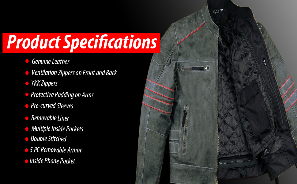 Leather Motorcycle Jacket Specifications