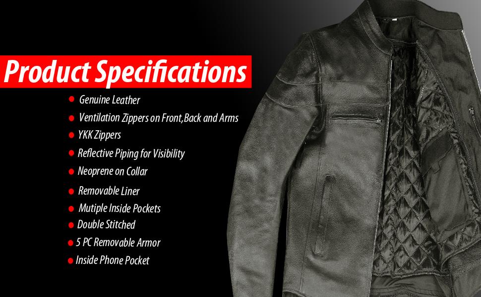 Motorcycle Leather Jacket Black