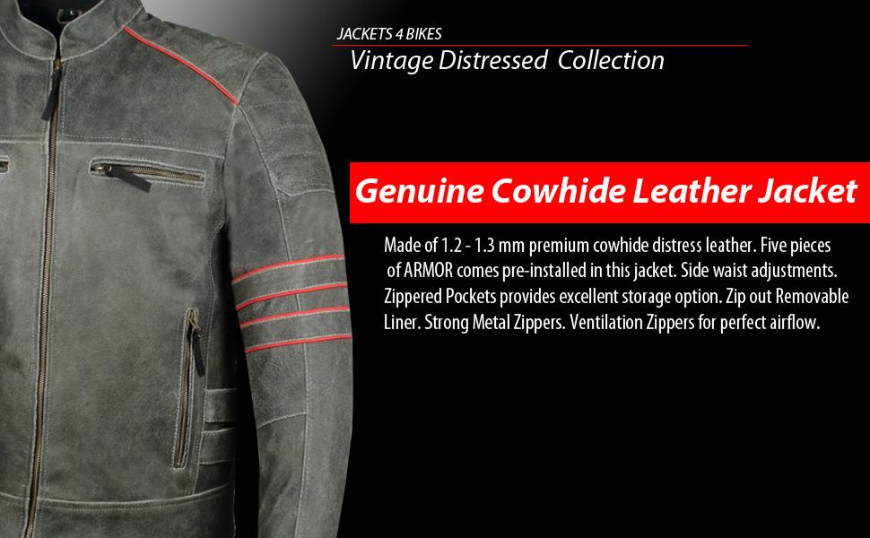 Vintage Distress Leather Motorcycle Jacket