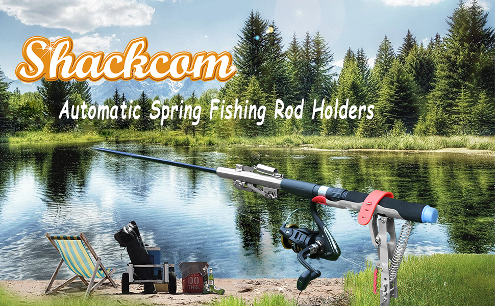 shackcom fishing rod pole holder stainless steel support brackets ground bank river lake