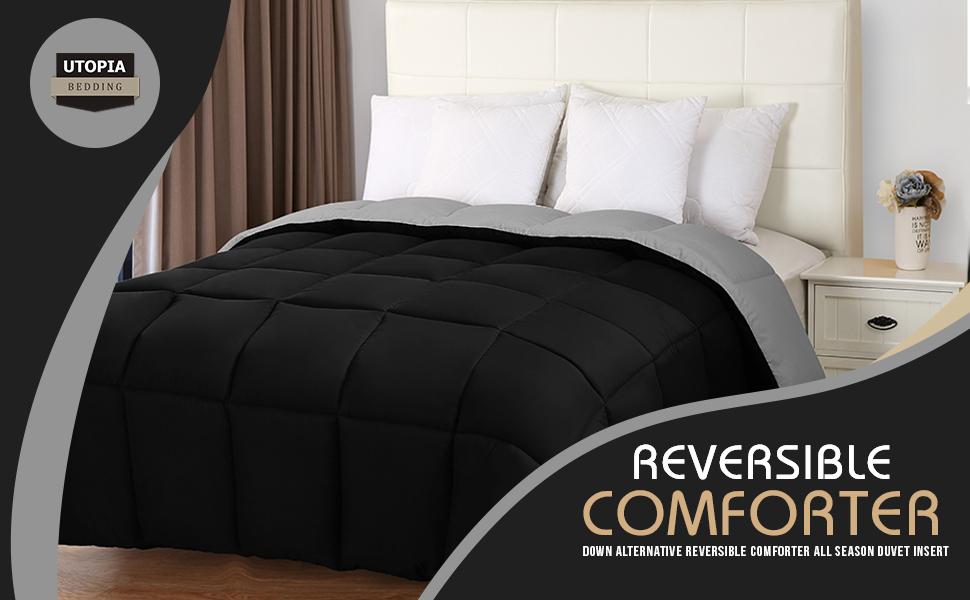 Utopia Bedding Down Alternative Reversible Comforter All Season Duvet Insert Microfiber Box Stitched