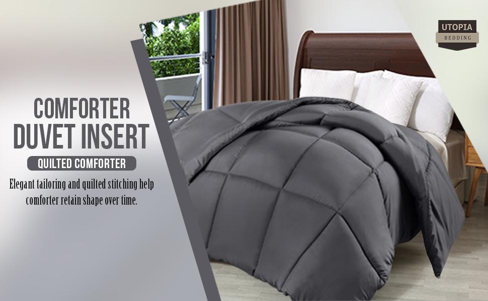 Comforter Down Alternative Grey All Season Duvet Stitched