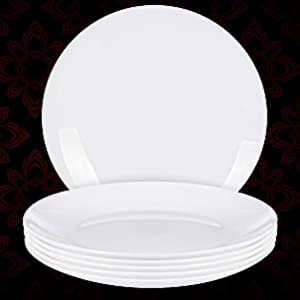 6-Piece White Moonlight Dinner Plate Set 10.5 Inches Dishwasher Safe Opal Glassware Utopia Kitchen UK0377