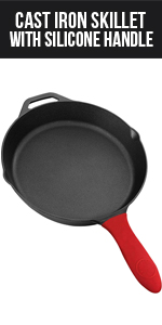 12.5 Inch Cast Iron Skillet with Silicone Handle