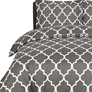 Printed Duvet Cover Set with 2 Pillow Shams Brushed Microfiber Stain Resistant