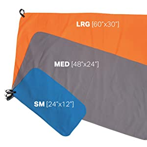 includes 3 convenient towel sizes extra large bath size towel perfect for the beach or lake a large size that is lightweight and perfect for trekking or