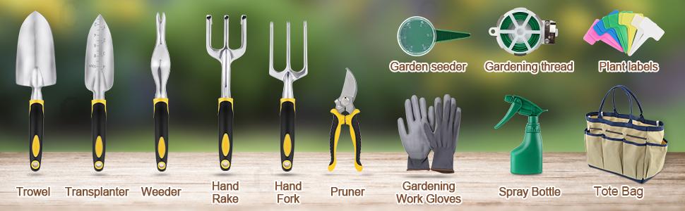 Garden Tools Set, 12 Piece Heavy Duty Gardening kit Cast-Aluminum