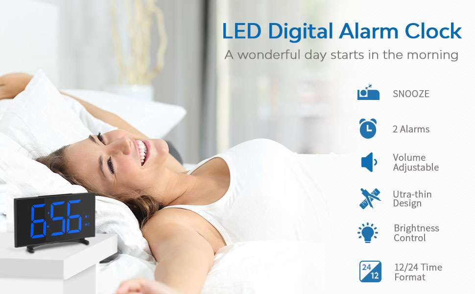 YISSVIC Digital Alarm Clocks for Bedrooms 6.5 Inches LED Clock with Separate Snooze Button 6 Brightness Dimmer 24/12 Hour Setting Dual Alarm Options ...