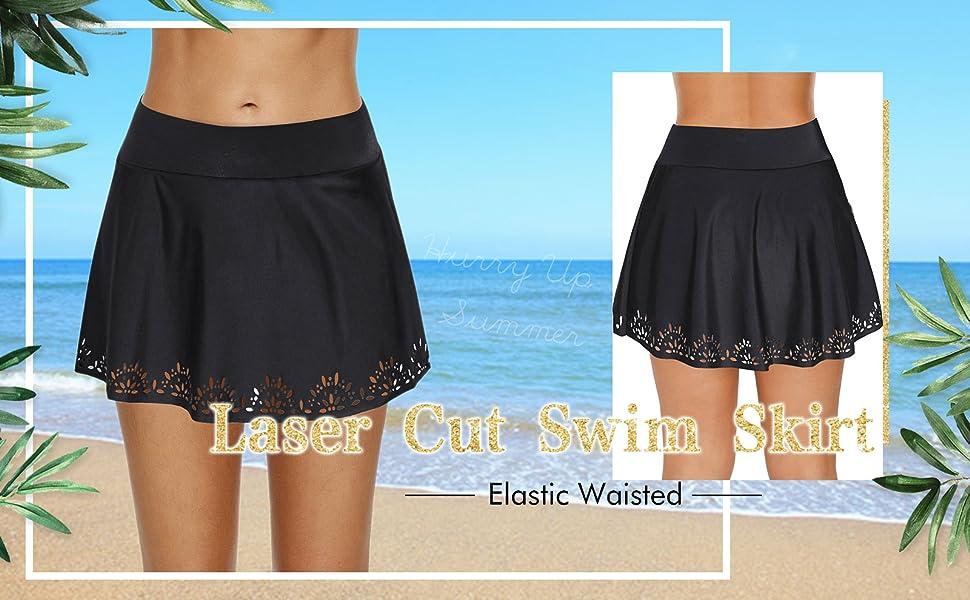 c09c53c75f XAKALAKA Women Skirted Hollow Out Hem Bikini Bottom Elastic Waisted Laser  Cut Swim Skirt S-